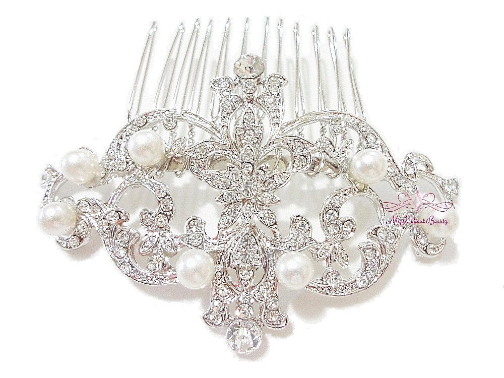 Bridal Comb, Wedding Bridesmaid Royal Pearl Flower Comb Tiara Rhinestone, Hair Wedding Rhinestone Comb Hc0012