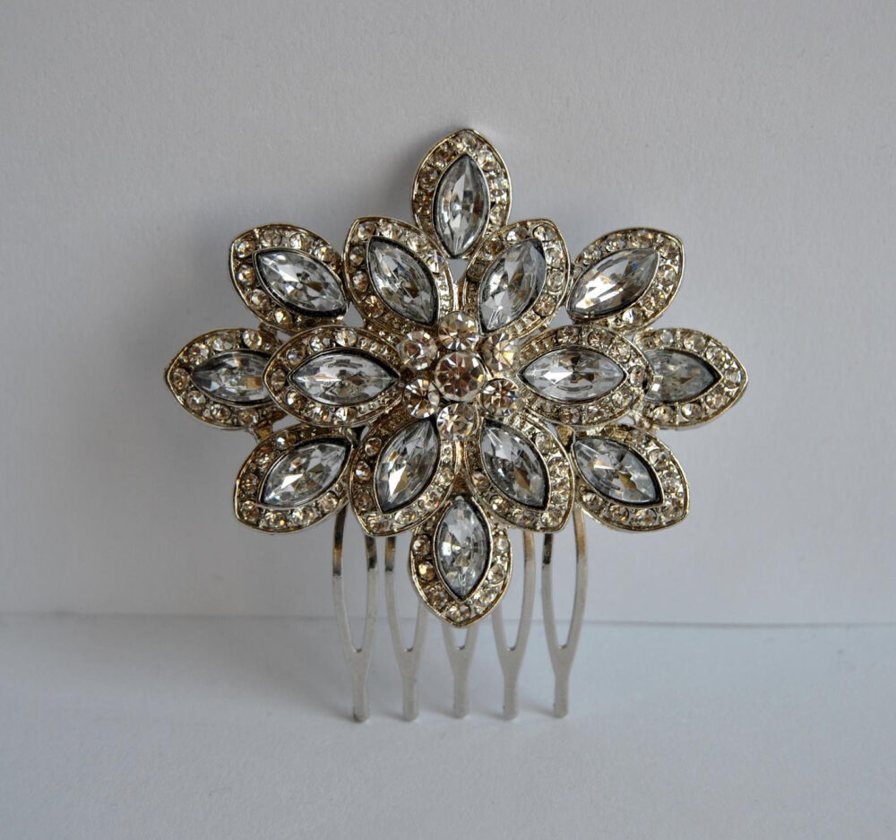Bridal Crystal Hair Comb Rustic Vintage Wedding Hair Accessory Comb Headpiece Flower Pin Clip Floral Jewelry Vine