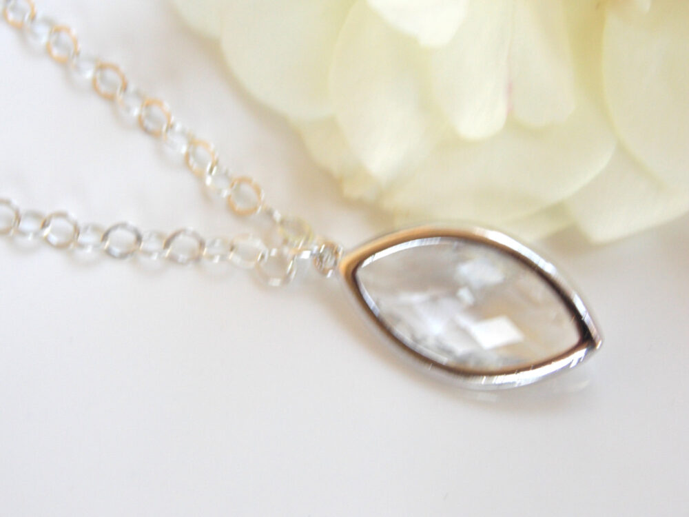 Bridesmaid Jewelry, Clear, Crystal Necklace, Glass, Sterling Silver, Wedding Gift, Pendant