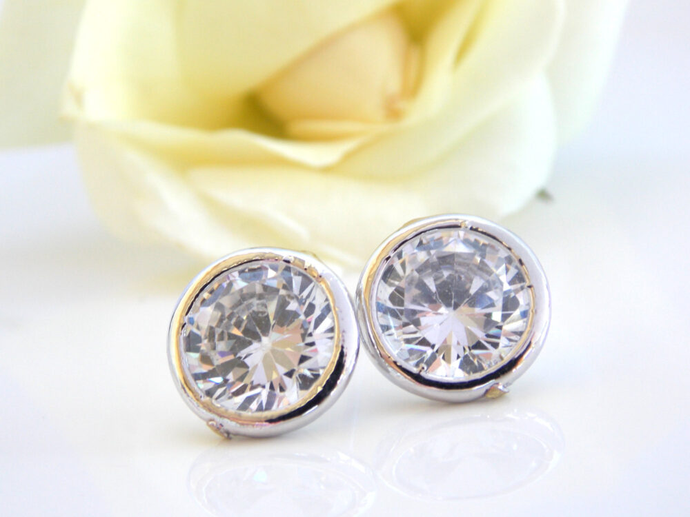 Wedding Jewelry, Cubic Zirconia Studs, Earrings, Silver, Mother Of The Bride Grom, Bridesmaids Gifts, Bridesmaids Jewelry, Bride