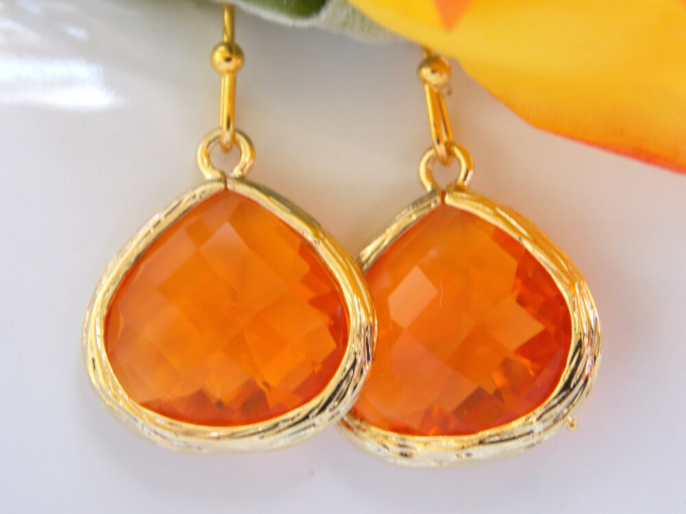 Wedding Jewelry, Bridesmaid Orange, Tangerine, Carnelian Earrings, Gifts, Drop, Gold, Dangle, Gifts, Teardrop, Gift