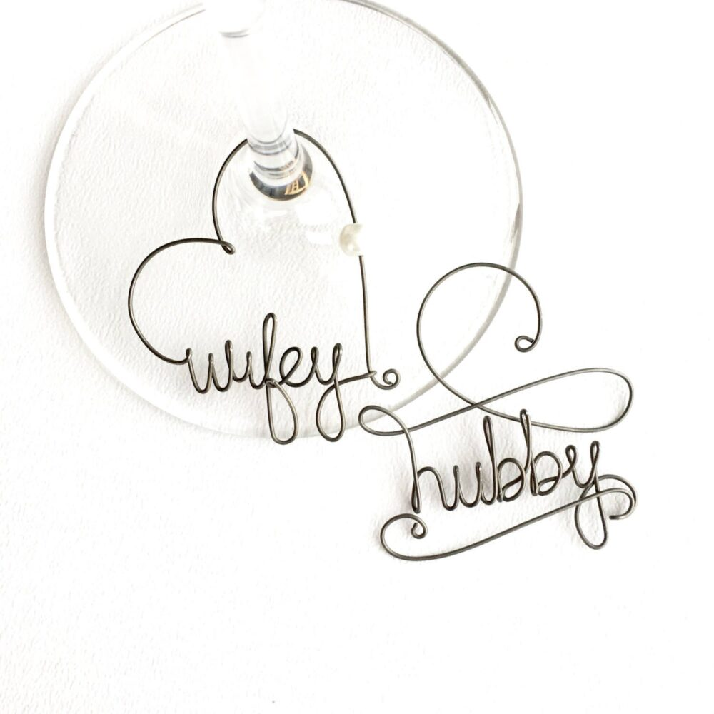 Hubby & Wifey Wine Glass Charms, Personalized Wedding Favors, Fun Charms, Gifts For Couples, Rustic Favors