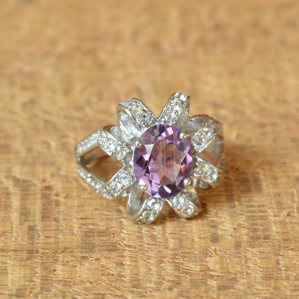 Natural Amethyst Ring -Eternity -White Topaz -Amethyst Engagement -Gift For Her -Bridal Rings -Wedding -Women