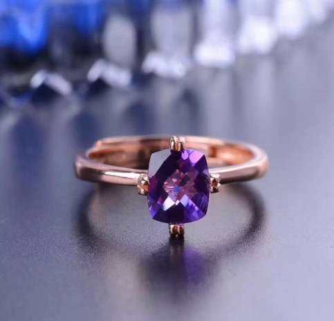 Natural Amethyst, Ring, 925 Sterling Silver, Amethyst Engagement Ring, Ring, Women Gift Ring, Anniversary Ring, Gift For Her