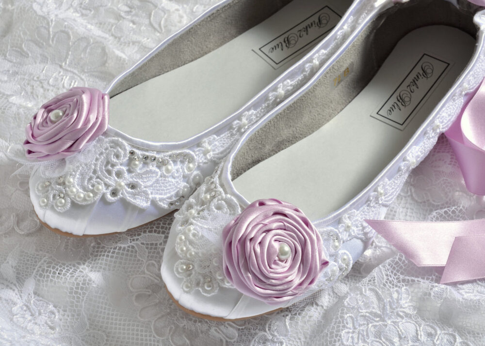 Wedding Shoes - Ballet Flats, Vintage Lace & Lilac Rosettes, Swarovski Crystals Pearls, The Belle- Women's Bridal