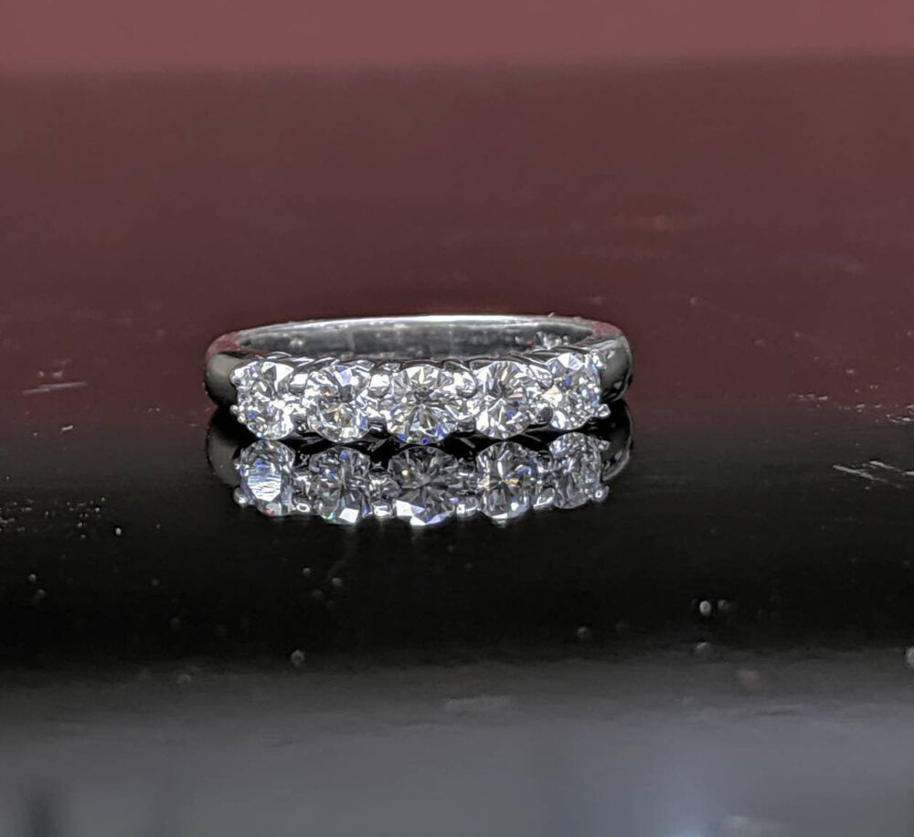 0.80Ct. Diamond Platinum Wedding Band/Traditional Women's Five Stone Ring/ Luxurious Anniversary Gift For Her
