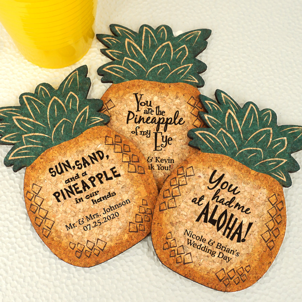 Wedding Favors Coasters, Pineapple Personalized Cork Coaster, Coaster Favor, Coasters - Set Of 12