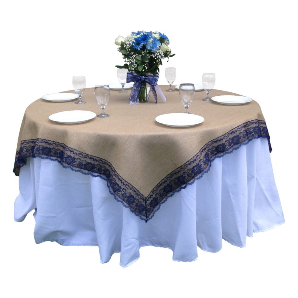 36 X Inches - Burlap Navy/Dark Blue Lace-Edged Table Overlay/Tablecloth- Rustic Country Home Decor Linen, Wedding Reception