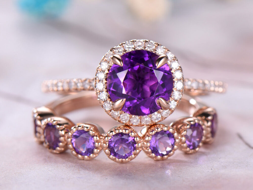 7mm Round Cut Amethyst Engagement Ring Set, Bezel Set Diamond Wedding Band, 14K Rose Gold, Anniversary Ring, Promise Ring, Milgrain, Gift For Her