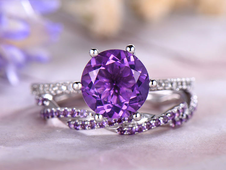 8mm Round Cut Amethyst Engagement Ring Set, Infinity Diamond Wedding Band, 14K White Gold, Anniversary Ring, Promise Ring, Milgrain, Gift For Her