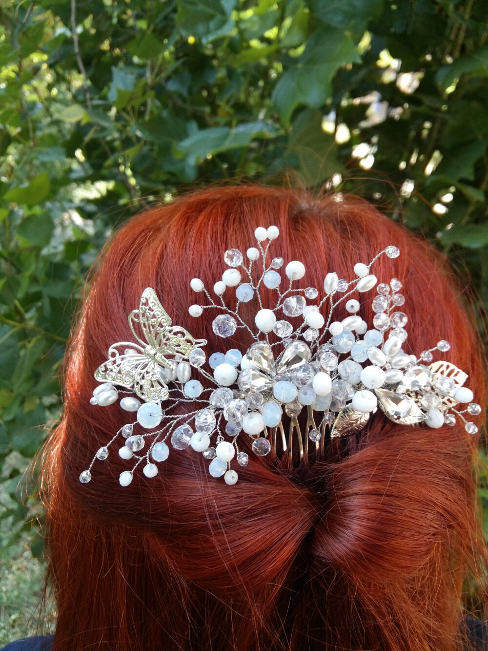 Wedding Hair Pins, Butterfly Pin, Bridal Pearl Vine, Crystal Pin, Comb