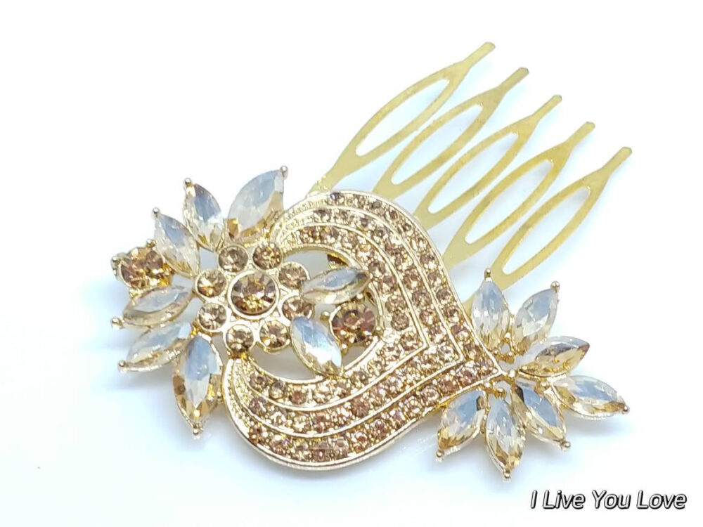 Yellow Gold Bridal Hair Comb-Champagne Accessories, Gold Wedding Accessories, Bridal Comb, Bridal Piece, Wedding-Clearance