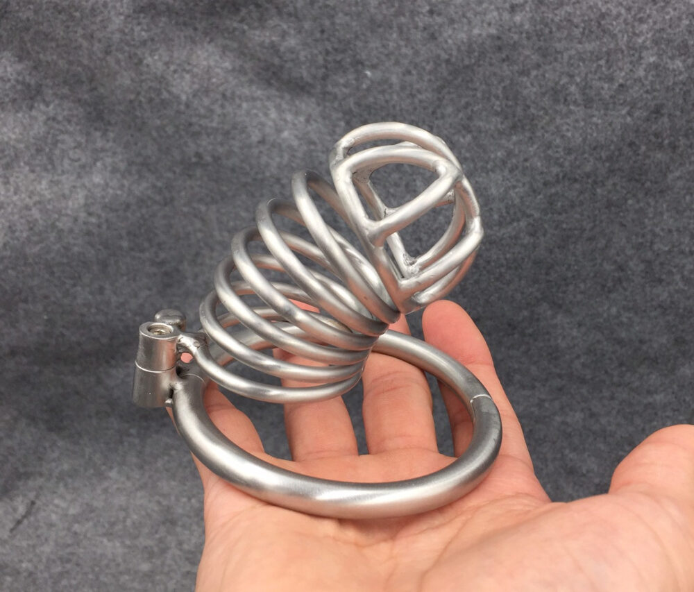 Custom Metal Chastity Cage Stainless Steel Cock With Hinged Base Ring Ba-09