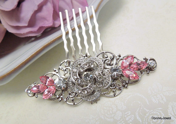 Bridal Hair Comb, Rhinestone Hair Comb, Wedding Accessories, Bridesmaid Crystal Bridal Clip, Pink, Roselani