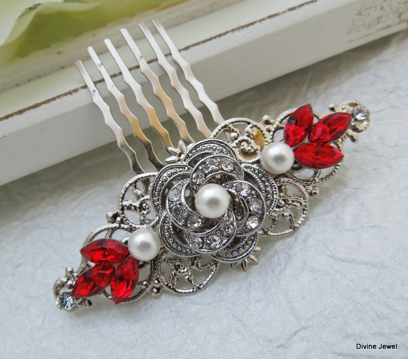 Bridal Hair Comb, Wedding Accessories, Rhinestone Hair Comb, Comb Vintage, Swarovski Roselani