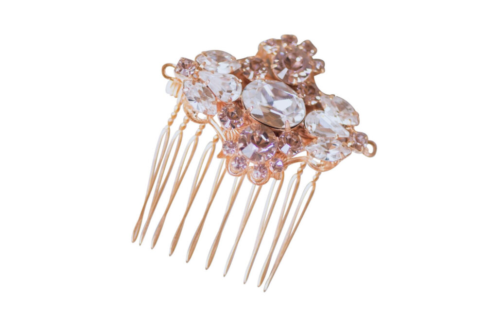 Bridal Headpiece Wedding Hair Comb, Rose Gold Vintage Art Deco Swarovski Silk Crystal Brooch Dainty Rhinestone Clip Camilla Christine Joanna