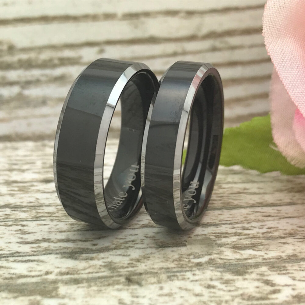 8mm/6mm Cobalt Wedding Rings, Personalize Anniversary Gift For Her, Him, Shjtco050