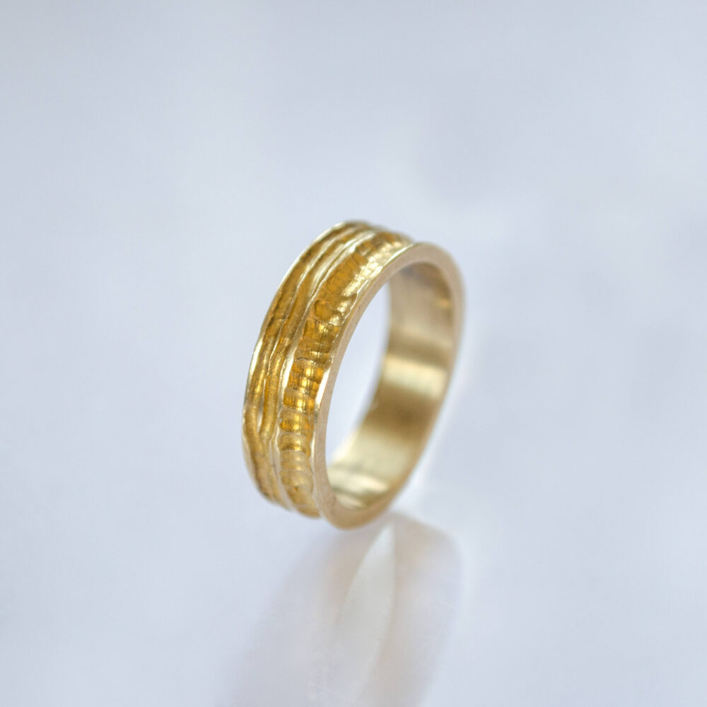 Unique Engraved Wedding Band, Unisex 14K Gold Ring, Gift For Him Her