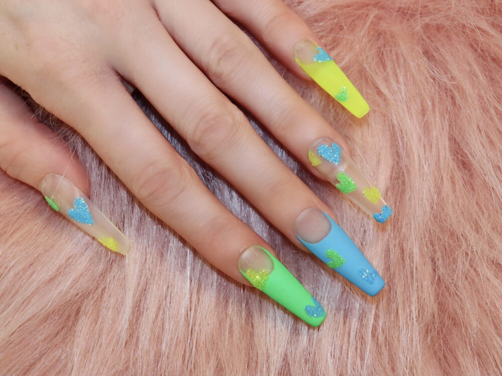 Glitter Hearts Press On Nails | French Nails, Green Blue Yellow Gel Nails