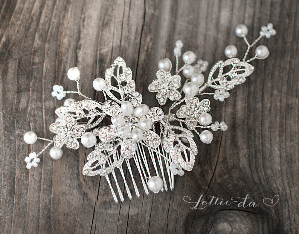 "Wedding Hair Accessory, Comb Beaded, Vintage Face Veil, Boho Headpiece - ""Meadow'"