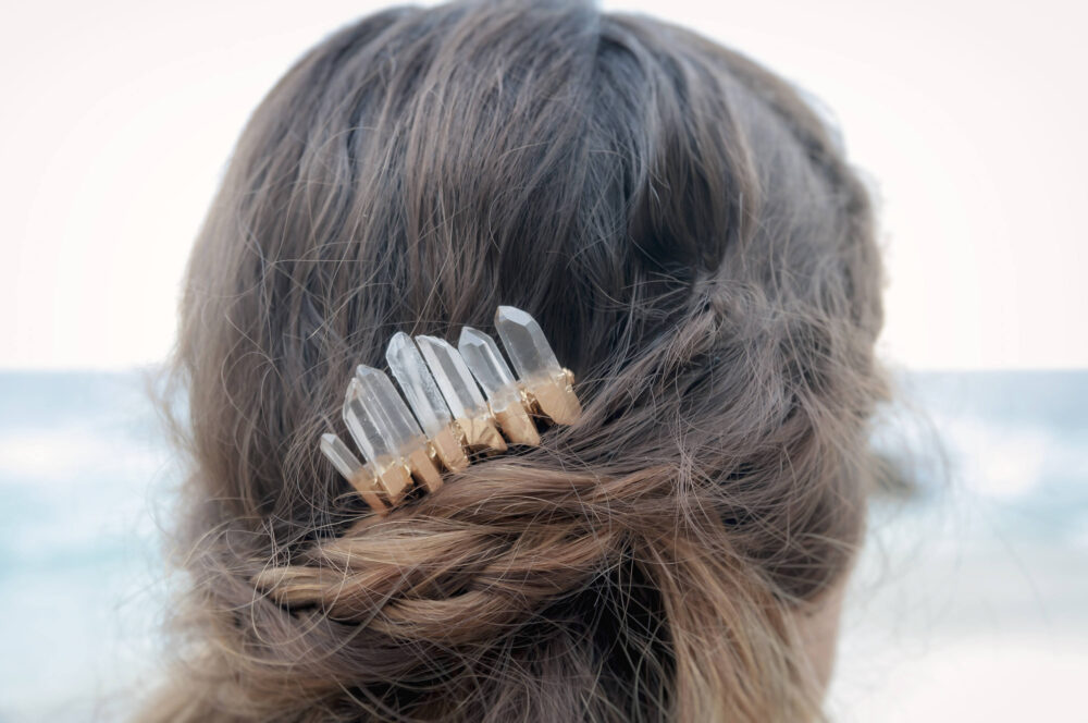 Crystal Hair Comb, Bridesmaid Comb, Raw Stone Jewelry, Gold Wedding Comb, Wedding Tiara, Wedding Accessory