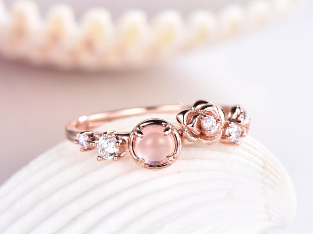 Rose Gold Plated Morganite Engagement Ring Sterling Silver 925 Floral Diamond Wedding Band Anniversary Gift For Her Antique Retro Set