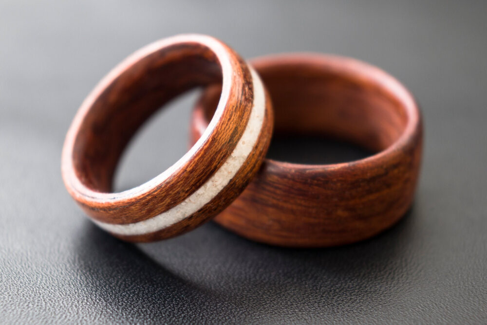 2Pcs, Set Rings, Wedding Band, Ring Inlaid Cacholong, & Engagement, Gift For Couples, Ring, Bentwood Red Wood, Sets
