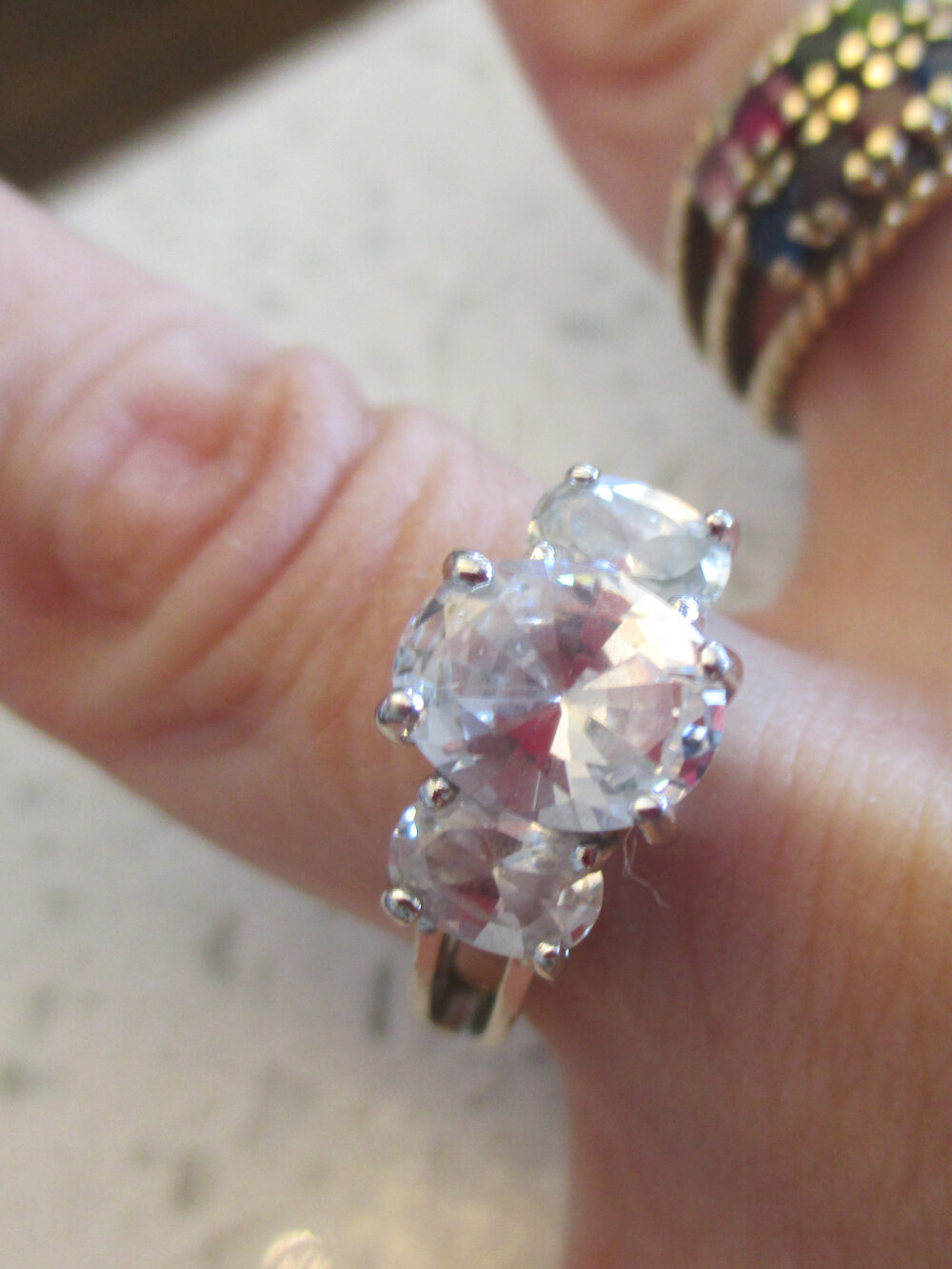 Vintage Size 6 Three Stone Cz Engagement Ring, Silver Setting, Hallmarked Ja, Gift For Her, Wedding, Bridal