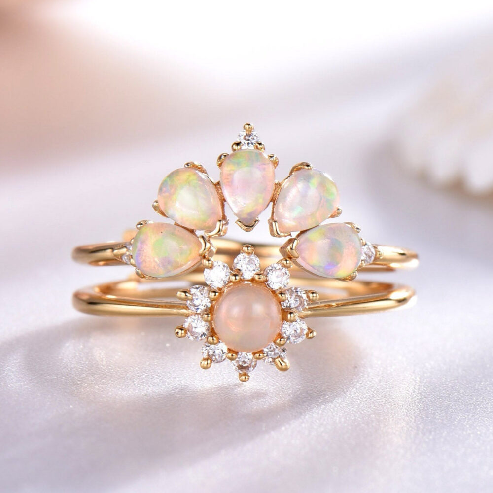 Opal Ring Sterling Silver Matching Band Curved Stacking Wedding Set Cubic Zircon Yellow Gold Plated Gift For Women Birthstone