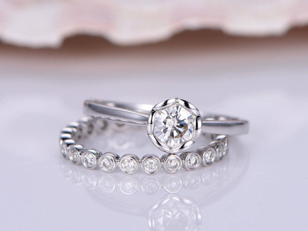 Solitaire Engagement Wedding Ring Set, 0.85Ct White Cz Round Cut Diamond, Anniversary Ring, Bridal Set, Promise Ring, Gift For Her, Women's
