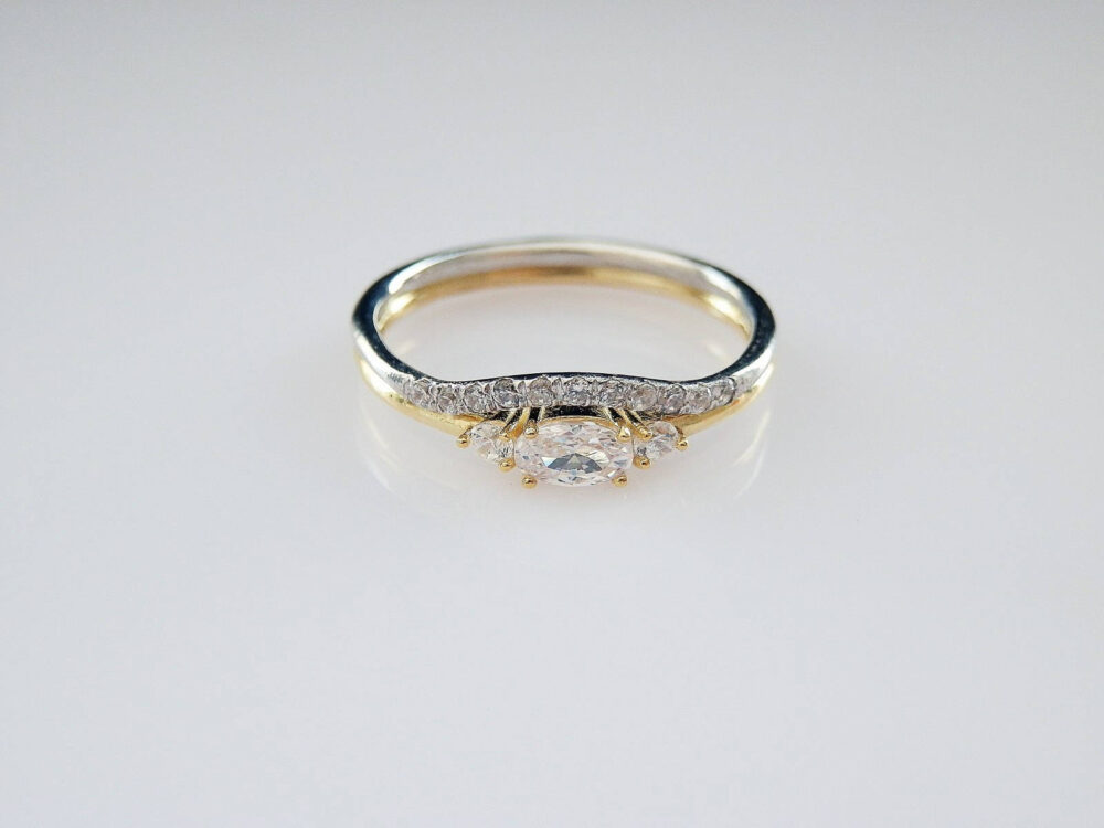 Oval Egagement Ring - Wedding Set 925K Silver Dainty Stacking Gift For Her Christmas