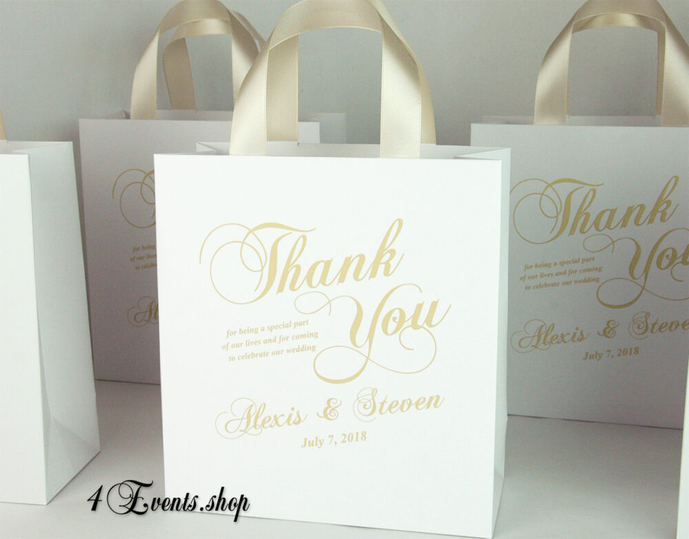 35 Champagne Personalized Wedding Welcome Bags With Satin Ribbon Handles & Your Names, Elegant Wedding Gifts Favors For Hotel Guests
