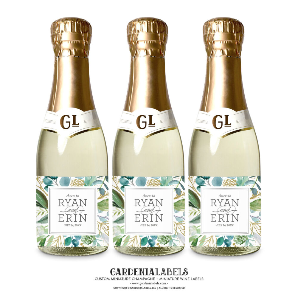 Mini Champagne Labels For Wedding Favors, Engagement Party Couples Shower Rehearsal Dinner Wine Label, Gift