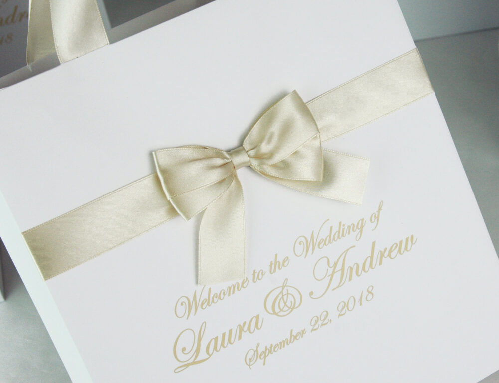 25 Champagne Wedding Welcome Bags With Satin Ribbon Bow & Your Names. Elegant Personalized Wedding Gifts Favors For Guests
