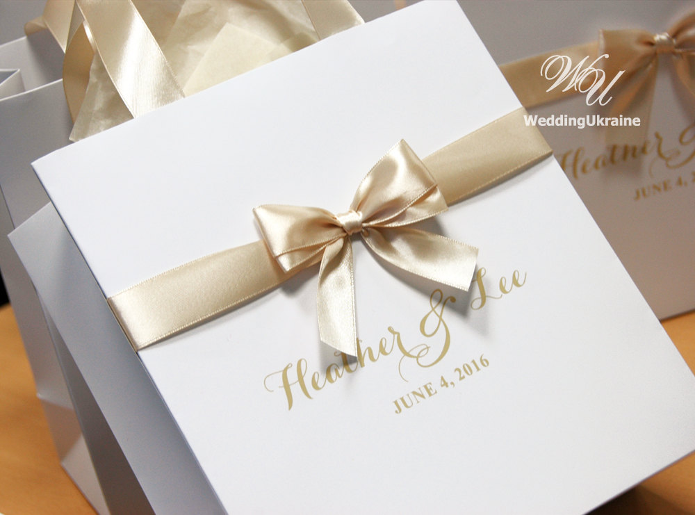 Champagne Wedding Welcome Bags With Satin Ribbon, Bow & Names - White Personalized Weddings Gifts Favors For Guests