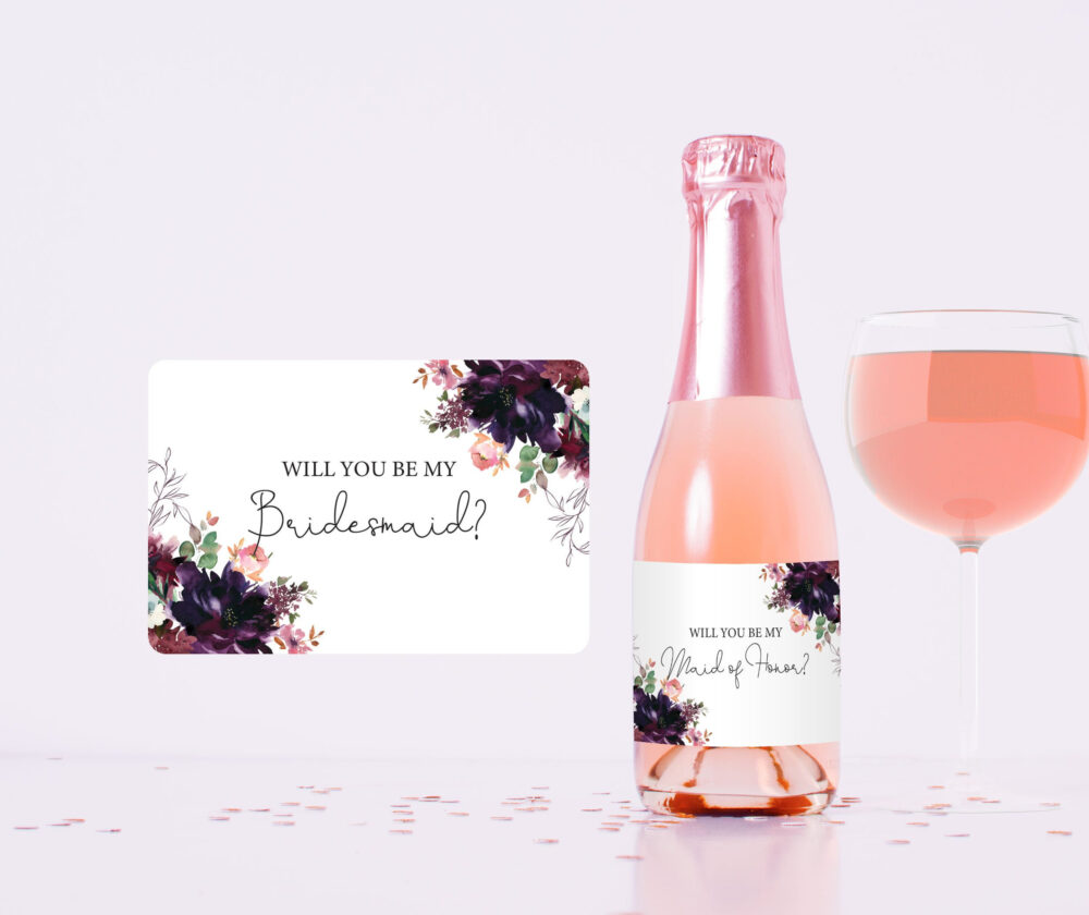 Will You Be My Bridesmaid Mini Wine Champagne Label, Bridesmaid Maid Of Honor Proposal Gift Box Idea, Burgundy Plum Wedding Party Favor S039