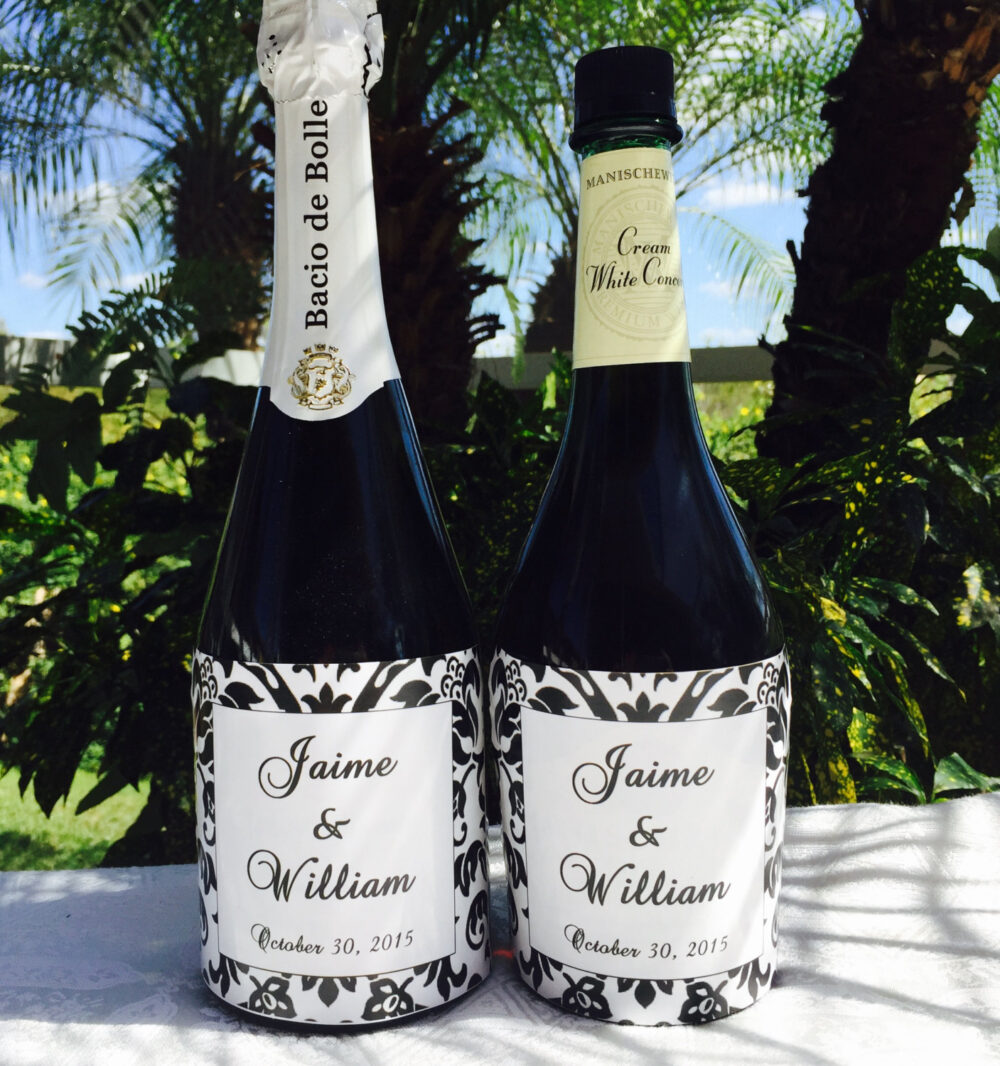 12 Glossy Damask Themed Champagne Or Wine Bottle Labels/stickers Personalized For Wedding/Party Favors Self Adhesive, & Unique
