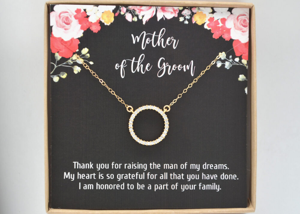 Mother Of The Groom Wedding Necklace-Mother in Law-Cz Ring Pendant-Future Mother-Gift From Bride-Mother Gift-Mother Bride
