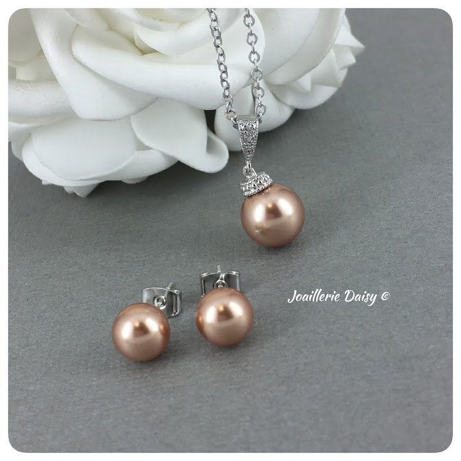 Rose Gold Jewelry Bridesmaid Gift Set Pearl Neckalce Maid Of Honor Bridal Party For Morher Bride Mother Groom Wedding