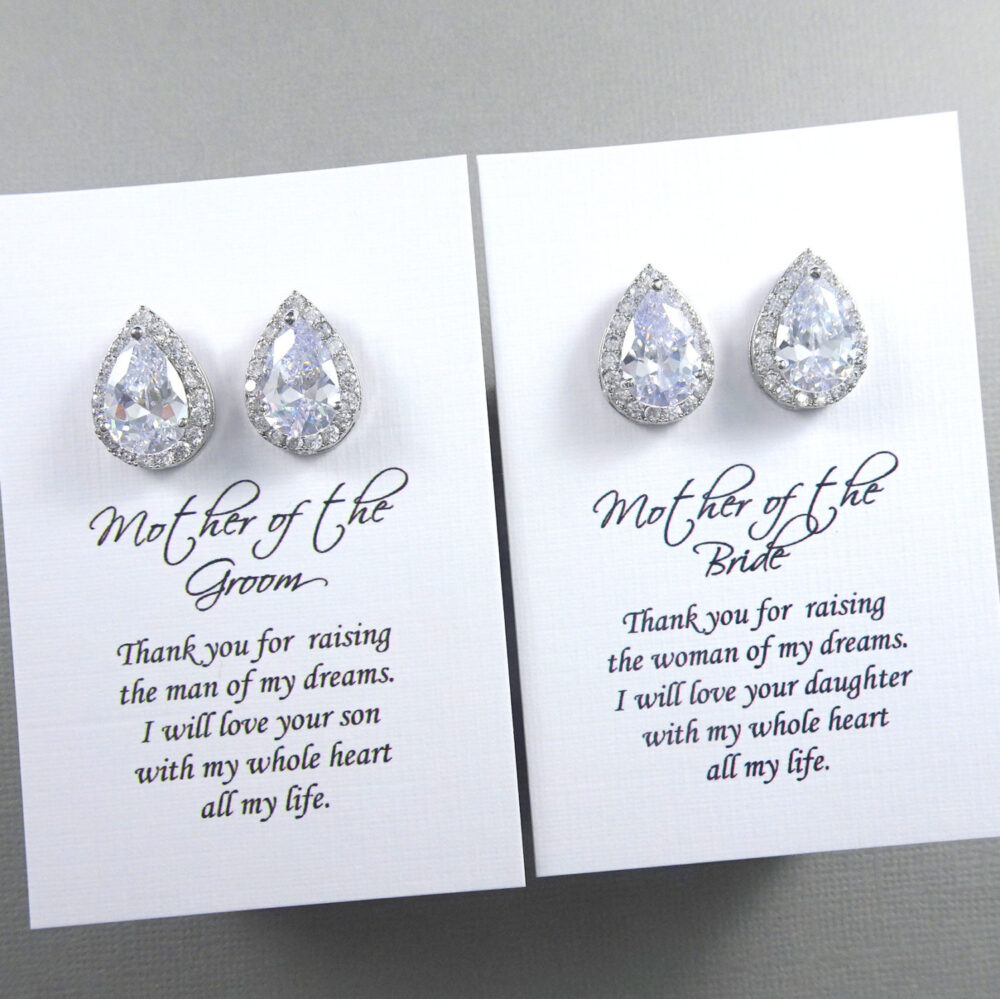 Crystal Stud Earrings, Mother Of The Bride Gift Groom Wedding Pear Earrings