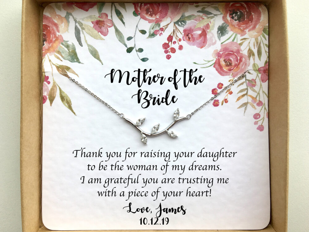 Mother Of The Bride Gift From Groom, Wedding Day For in Law, Necklace, Personalized Jewelry New Mom