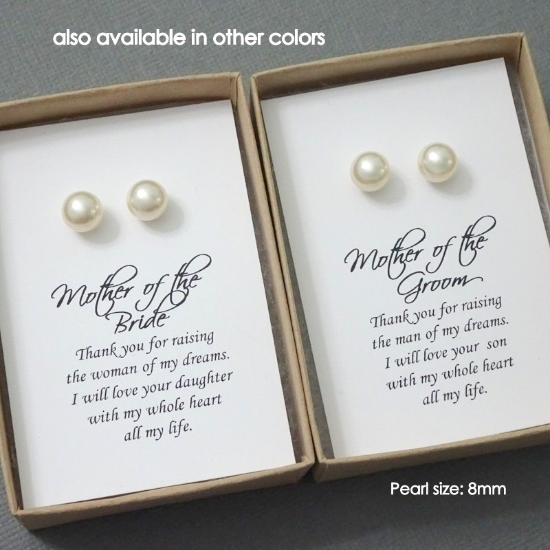 stud Pearl Earrings, Gift For Mom, Mother Of The Bride Groom Wedding Earrings