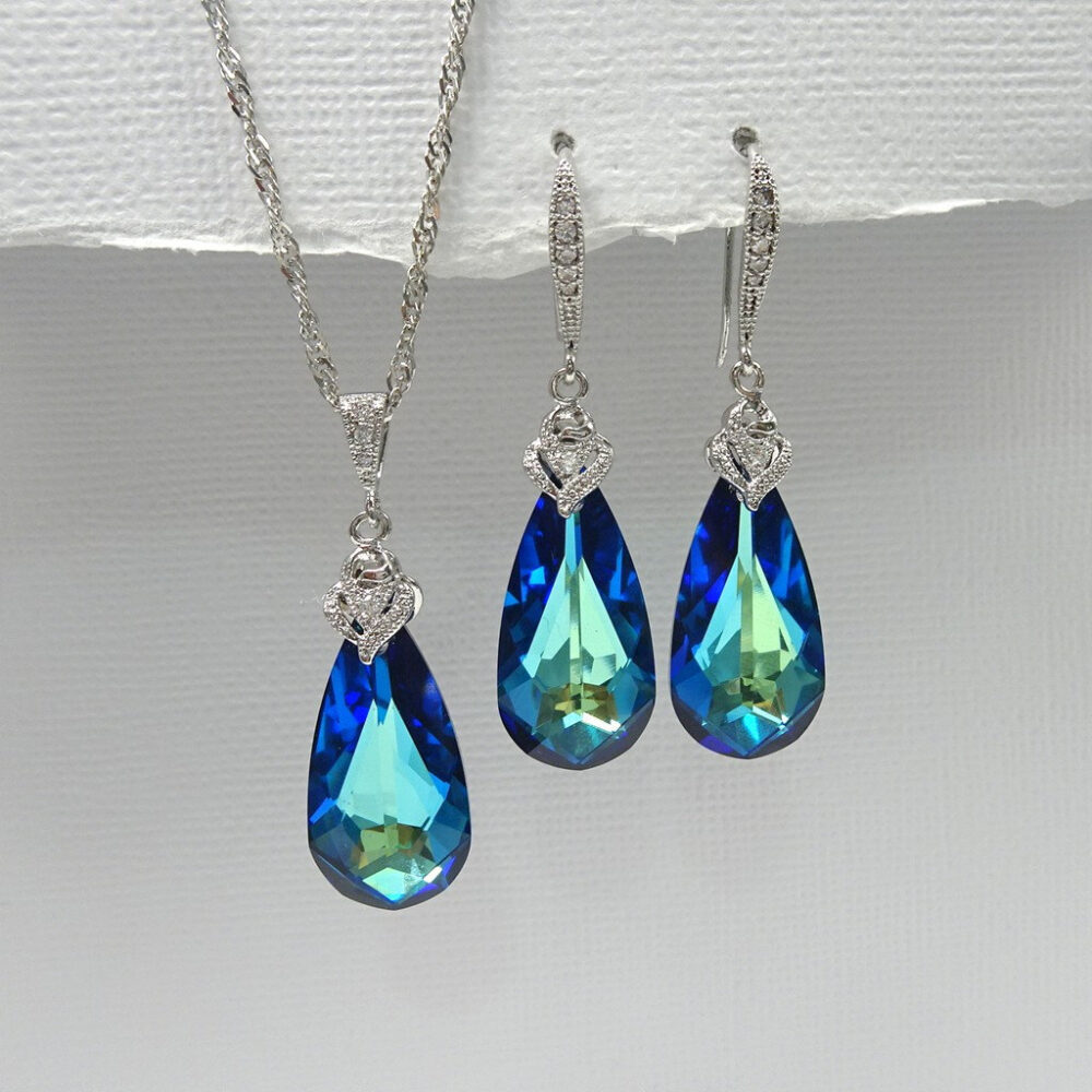 Swarovski Bermuda Blue Necklace & Earring Set, Jewelry Mother Of The Bride Gift, Groom Wedding Set
