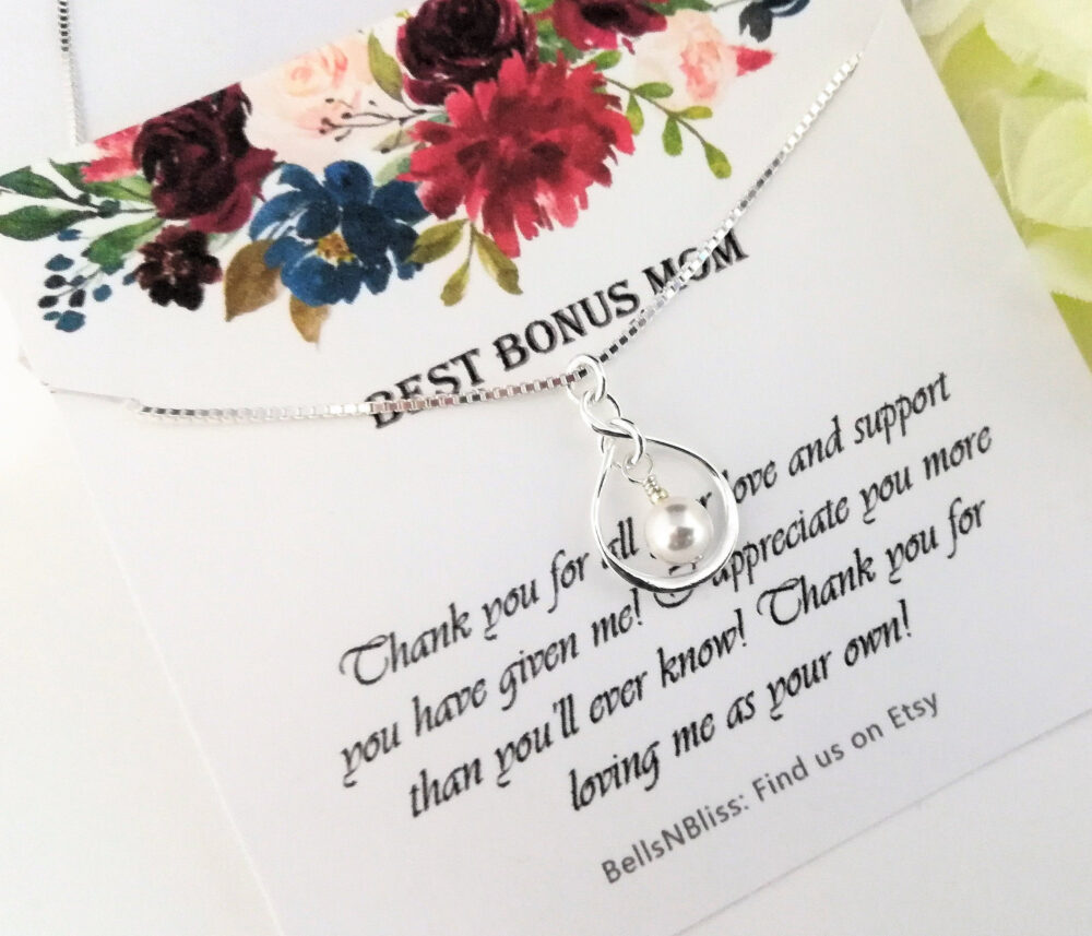 Stepmother Of The Bride Gift Step Mom Stepmom Best Bonus Mom Infinity Necklace Mother Bride Wedding Jewelry