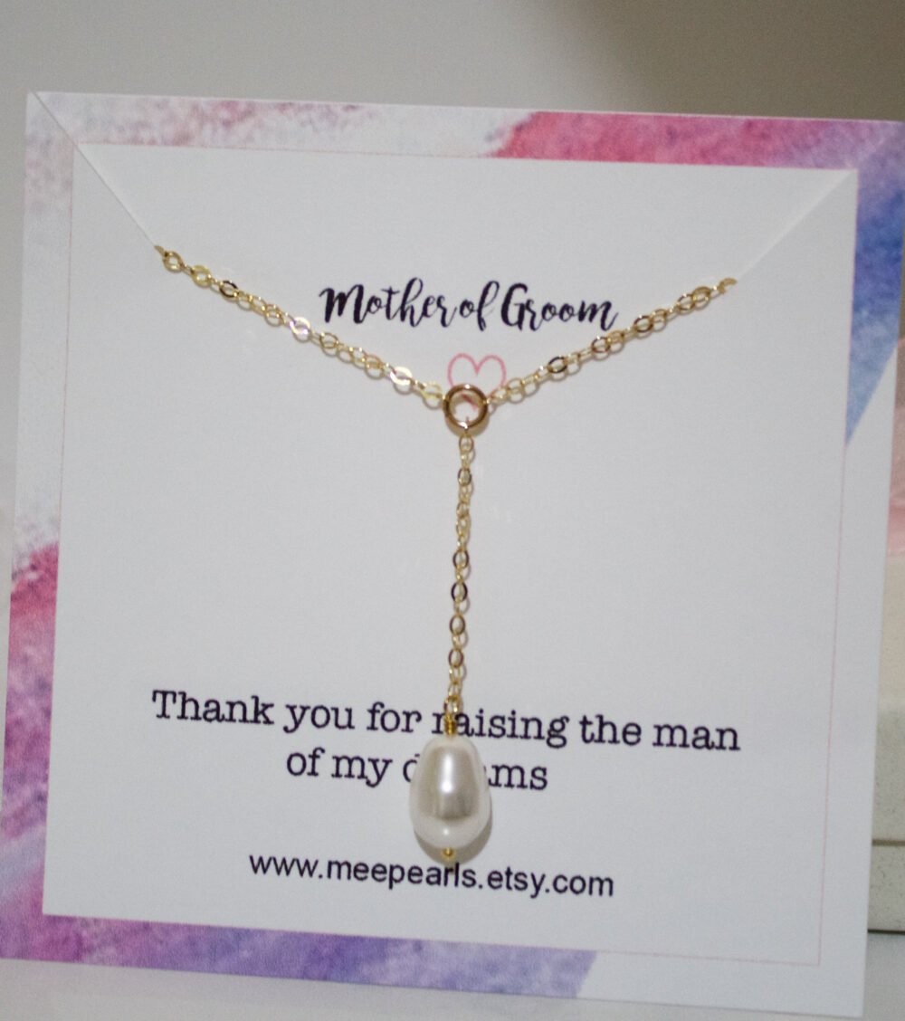 Wedding Pearl Necklace//Bridesmaid Lariat & Y Necklace//Gift For Mother Of Groom//Wedding Shower Gift//Bridal Party Gift//Gold, Silver