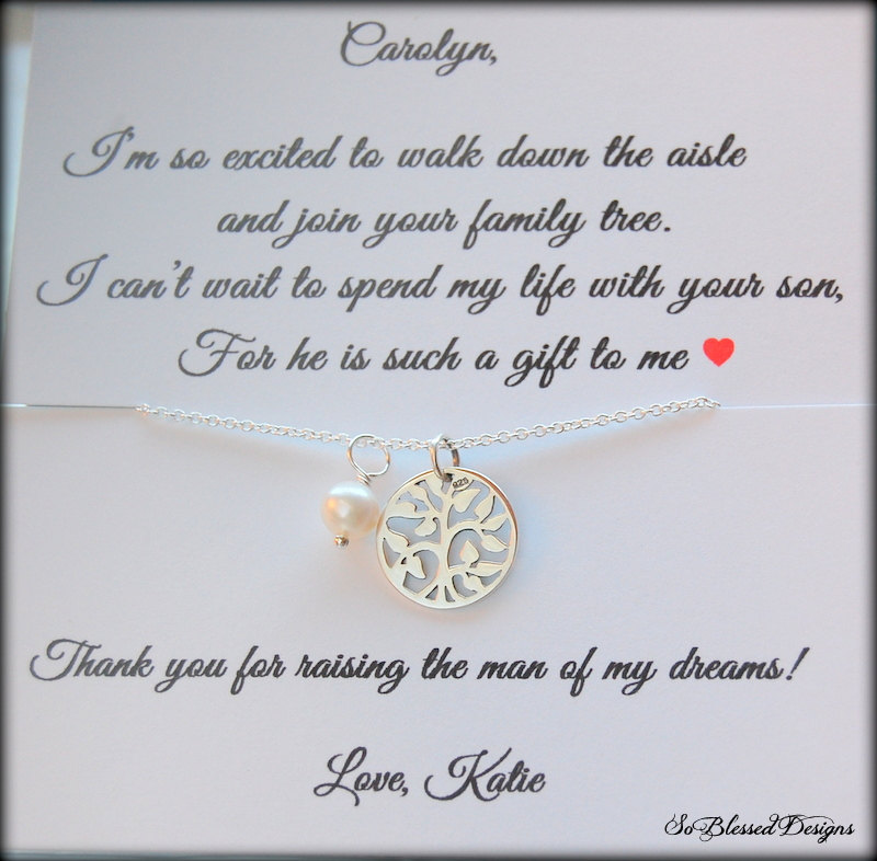 Mother Of The Groom Jewelry, Necklace, Bride Card, Mother Groom From Bride, Wedding Gift