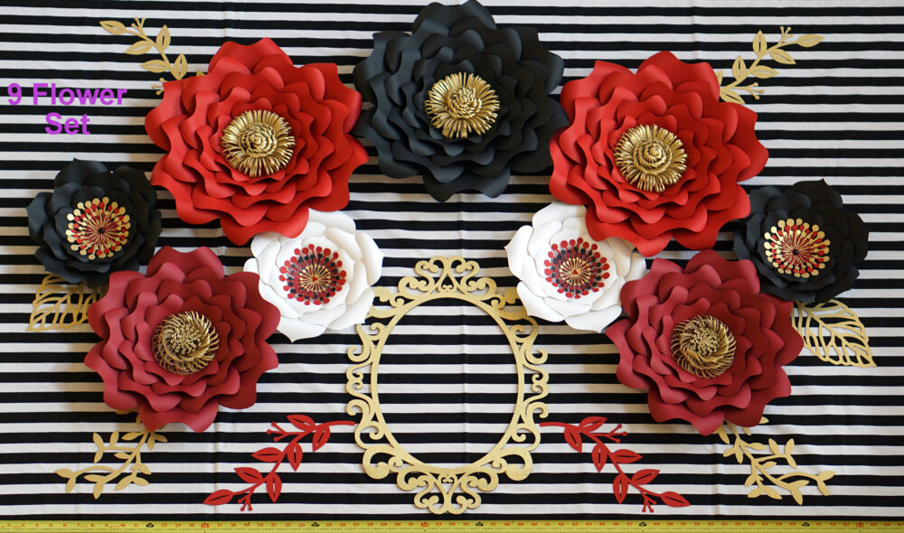 Red Black White Gold Paper Flowers Set, Minnie Mouse Nursery Wall Decor, Custom Bridal Or Baby Shower Backdrop, Alice Wonderland, Chanel