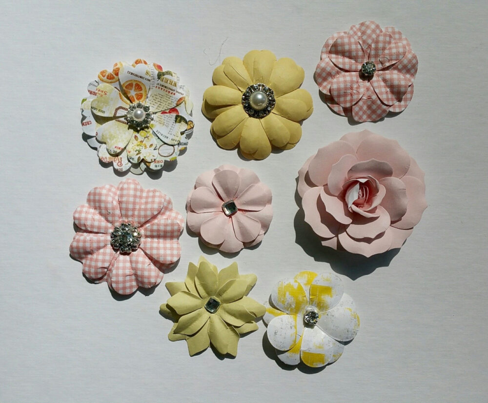 Fruit Paradise Paper Flowers, Tropical Craft Flowers, Prima Pink Paper Yellow Gingham Print Flowers
