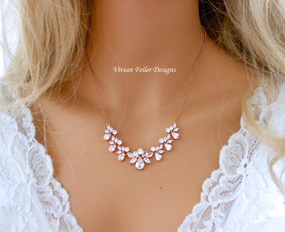 Rose Gold Crystal Necklace For Bride Cubic Zirconia Bridesmaids Mother Of The Bride Wedding Jewellery