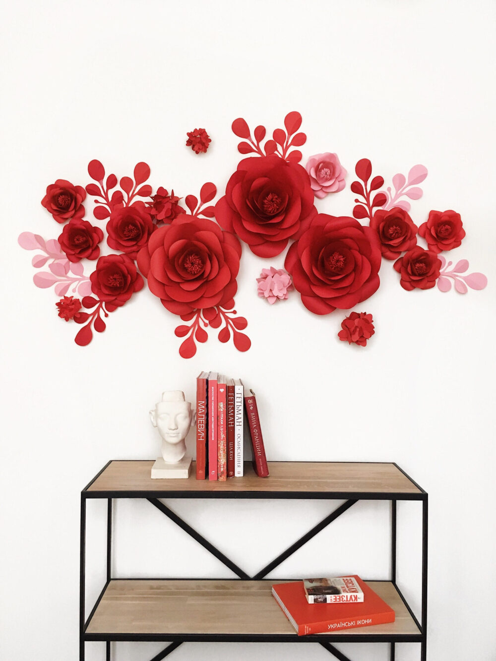Paper Flowers For Office - Flowers in Cabinet Space Decor Paper Wall Decor